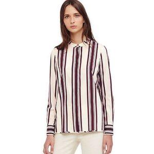 Tory Burch Stretch Silk Striped Shirt